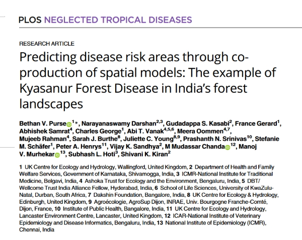 Predicting disease risk areas through coproduction of spatial models: The example of Kyasanur Forest Disease in India's forest landscapes - paper by the MonkeyFeverRisk team - PLoS Negl Trop Dis