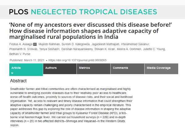 Our second project paper - How disease information shapes adaptive capacity of marginalised rural populations in India