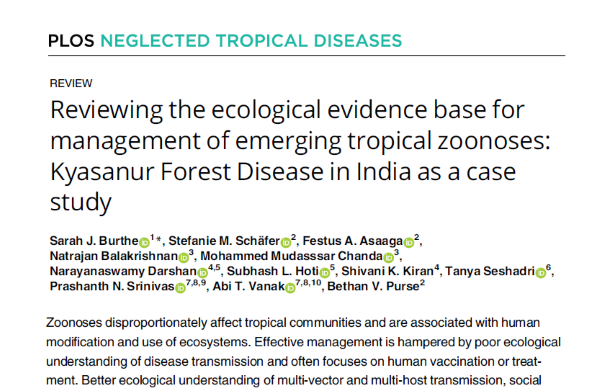 Our third project paper – it reviews the ecological evidence base for management of KFD