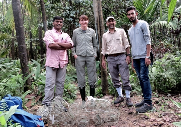 Fieldwork pilot - researchers about to test the rodent traps