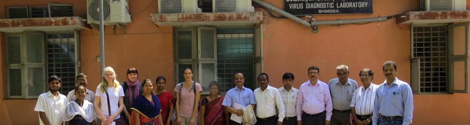 Members of the MonkeyFeverRisk project team visiting the Virus Diagnostic Lab in Shimoga, November 2017